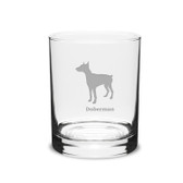 Doberman Deep Etched 14 oz Classic Double Old Fashion Glass