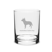 Australian Cattle Dog Deep Etched 14 oz Classic Double Old Fashion Glass