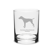 German Shorthaired Pointer Deep Etched 14 oz Classic Double Old Fashion Glass