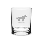 Landseer Dog Deep Etched 14 oz Classic Double Old Fashion Glass