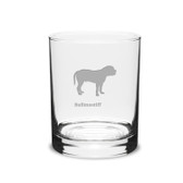 Bullmastiff Deep Etched 14 oz Classic Double Old Fashion Glass