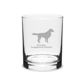 German Longhaired Pointer Deep Etched 14 oz Classic Double Old Fashion Glass