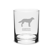 Longhaired Weimaraner Deep Etched 14 oz Classic Double Old Fashion Glass