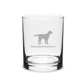 Flat-Coated Retriever Deep Etched 14 oz Classic Double Old Fashion Glass