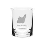 Maltese Dog Deep Etched 14 oz Classic Double Old Fashion Glass