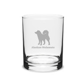 Alaskan Malamute Deep Etched 14 oz Classic Double Old Fashion Glass