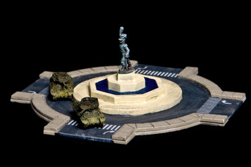 Traffic Circle (Roundabout) with Fountain, 2 Lane Road (Resin) - 285ROAD005