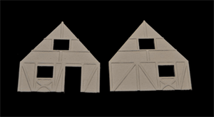 One Story (with loft or attic window) Narrow Cottage Ends (Uses Roof A) - 15MTAV043