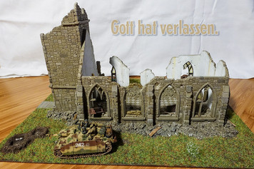 15mm European Ruined Country Church - 15MTAV091