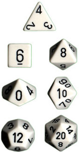 Opaque Polyhedral White/black 7-Die Set