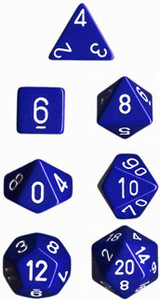 Opaque Polyhedral Blue/white 7-Die Set
