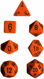 Opaque Polyhedral Orange/black 7-Die Set