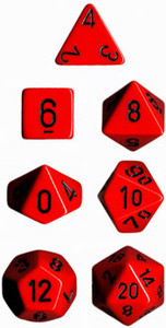 Opaque Polyhedral Red/black 7-Die Set