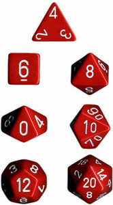 Opaque Polyhedral Red/white 7-Die Set