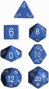 Opaque Polyhedral Light Blue/white 7-Die Set
