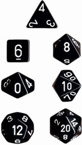 Opaque Polyhedral Black/white 7-Die Set