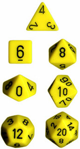 Opaque Polyhedral Yellow/black 7-Die Set
