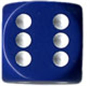 Opaque 16mm d6 Blue/white Dice Block (12 dice)