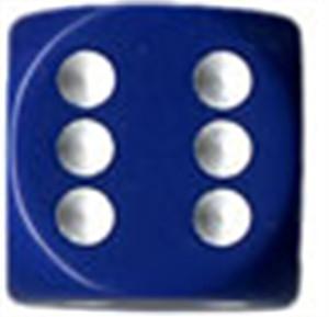 Opaque 16mm d6 Blue/white Dice Block (12 dice)