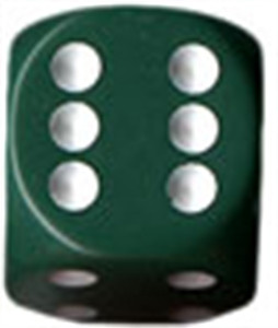 Opaque 16mm d6 Green/white Dice Block (12 dice)