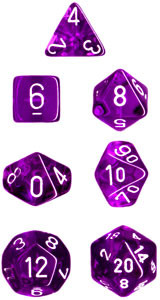 Translucent Polyhedral Purple/white 7-Die Set