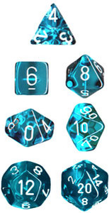 Translucent Polyhedral Teal/white 7-Die Set