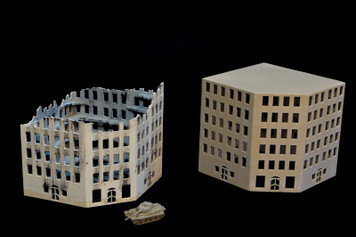 6mm European Corner Building and Ruined Version (Acrylic) - 285ACR154
