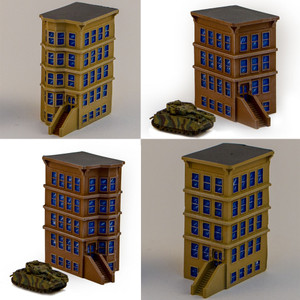 "6mm ""Brownstone"" Corner Buildings - Set Of 4 Buildings - 285MEV130"