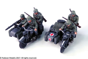 German Motorcycle R75 with Sidecar (ETO) (1:56th scale / 28mm)