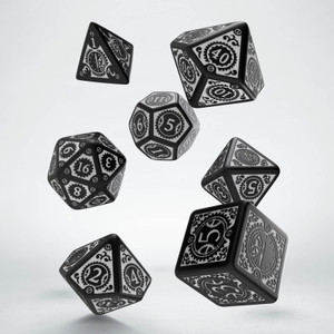 Steampunk Clockwork Dice Set Black/White (7)