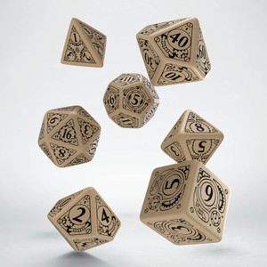 Steampunk Dice Set Beige/Black (7)