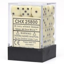Opaque 12mm d6 Ivory/Black Dice Block (36 dice)