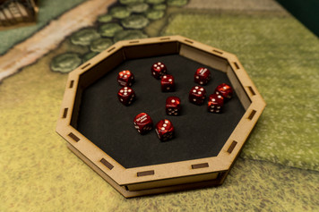 Dice Tray: Octagon 8 inch Wood Dice Tray