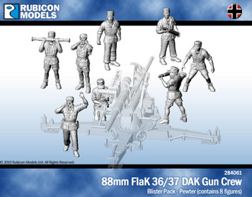 Rubicon Models 88mm FlaK 36/37 DAK Gun Crew- Pewter