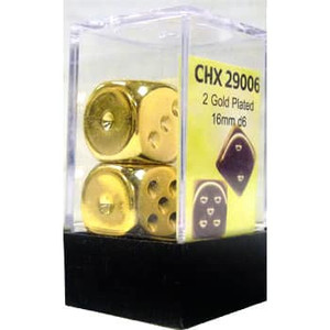 Pair of Gold-plated 16mm D6 With Pips