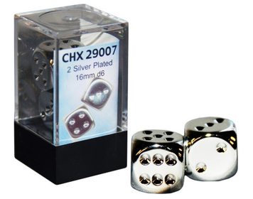 Pair of Silver-plated 16mm D6 With Pips
