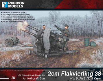 Rubicon Models 2cm FlaK 38 w/SdAh 51/52 Trailer and Crew (1:56th scale / 28mm)