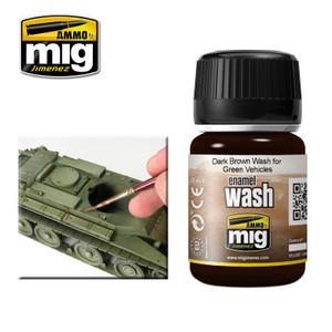 AMMO: Enamel Washes - Dark Brown Wash for Green Vehicles (35ml)