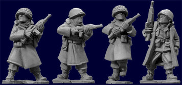 WWII 28mm: US Inf. In Greatcoats w/Carbines (4)