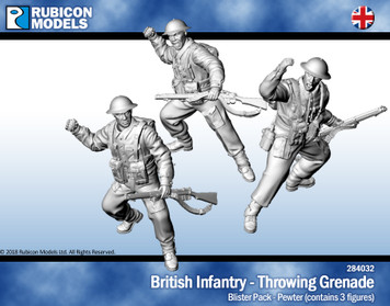 British Infantry Throwing Grenade- Pewter