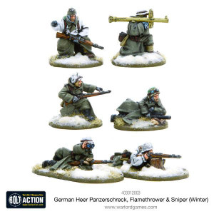Bolt Action: German Heer Panzerschreck, Flamethrower & Sniper teams, Winter