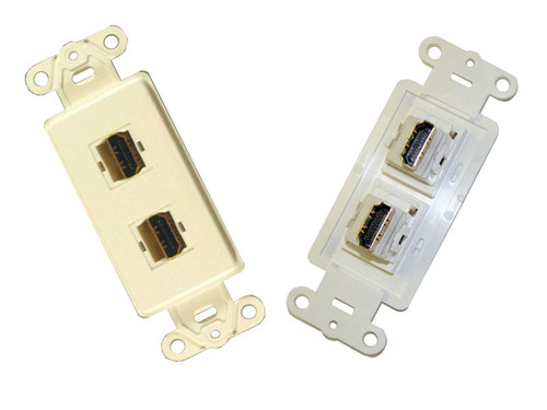 HDMI Dual wall plate, Almond color, Powerbridge HDMI2