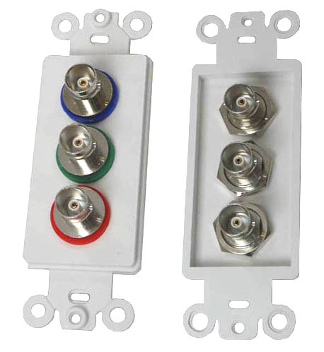 Triple BNC jack Wall plate Insert, 75 Ohm connectors