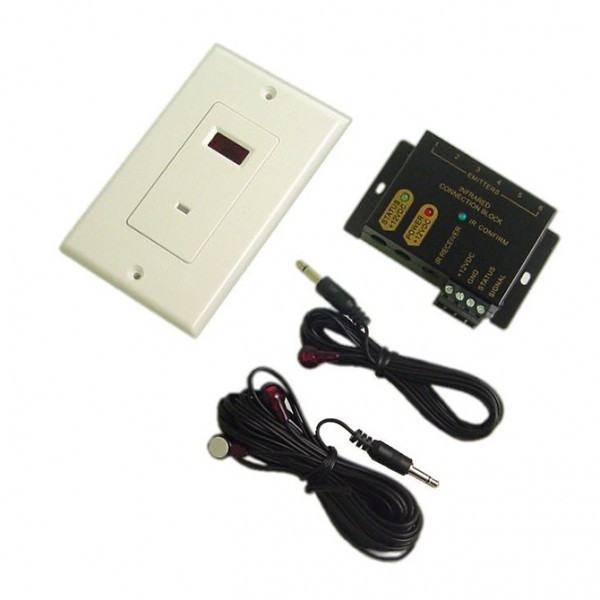 """Calrad """"Designer Style"""" IR Distribution System with Wallplate Receiver, Includes Connector Block, Receiver and Emitter"""