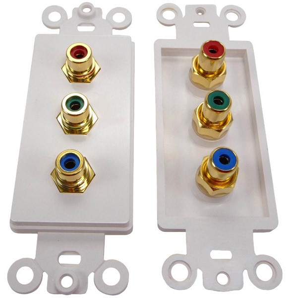 Component Video wall plate Gold plated RCA