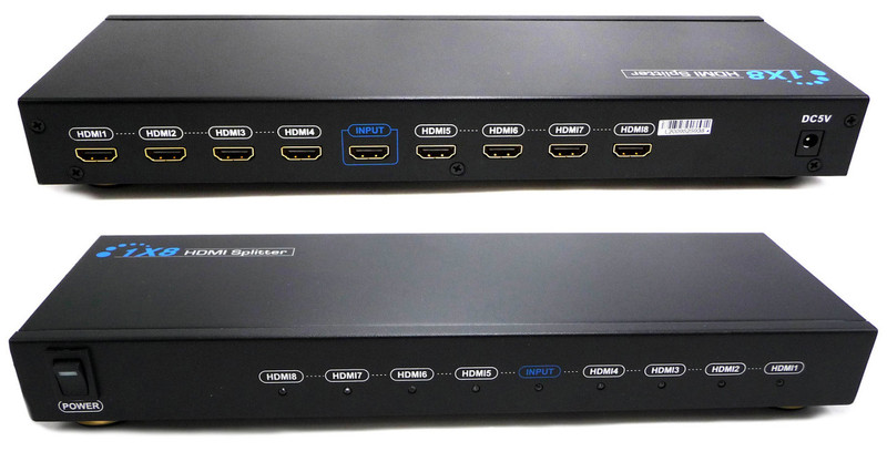 V318 3D 1x8 HDMI splitter distributes 1 HDMI source to 8 HDMI displays simultaneously