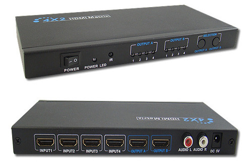 3D 4x2 HDMI Matrix Switch with additional Stereo Audio output