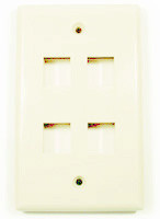 Keystone full size Wall plate, Ivory with 4 ports