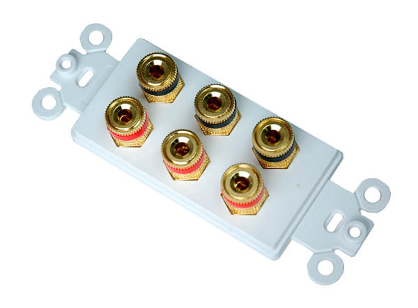 Speaker Binding Post Wall Plate with Gold Plated connectors