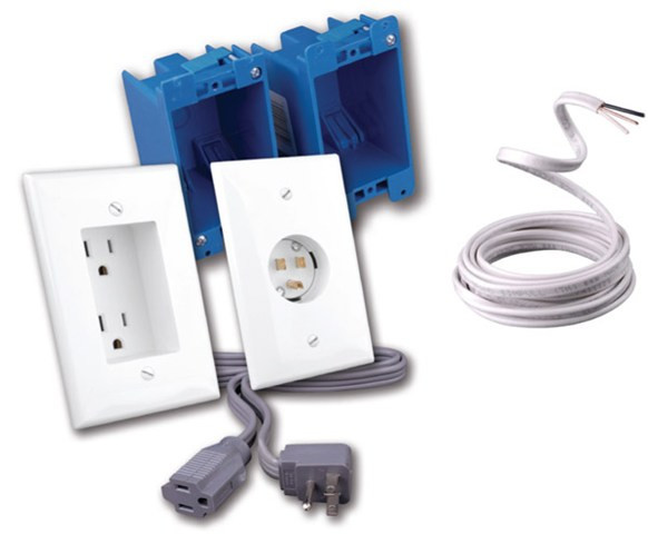 Vanco Rapid Link Power for Flat Panel TV Wall mounting - The Complete Install Kit with Romex Cable